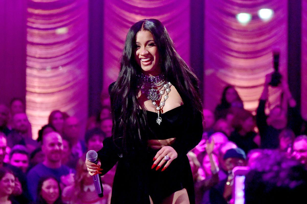 Singer Cardi B, performing at Warner Music's pre-Grammy party