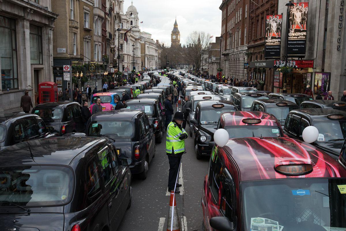 London Black Cab Drivers Protest Against Uber
