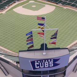 Cubs' Wrigley Field model showing that stairs to upper center-field bleachers are being relocated behind the seating area -