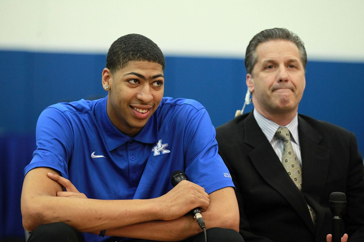 LEXINGTON, KY - APRIL 17:  Anthony Davis and John Calipari the head coach of the kentucky Wildcates talk with the media during the news conference at Joe Craft Center on April 17, 2012 in Lexington, Kentucky.  (Photo by Andy Lyons/Getty Images)