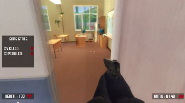 A screenshot of Active Shooter, a game that lets you simulate a school shooting.