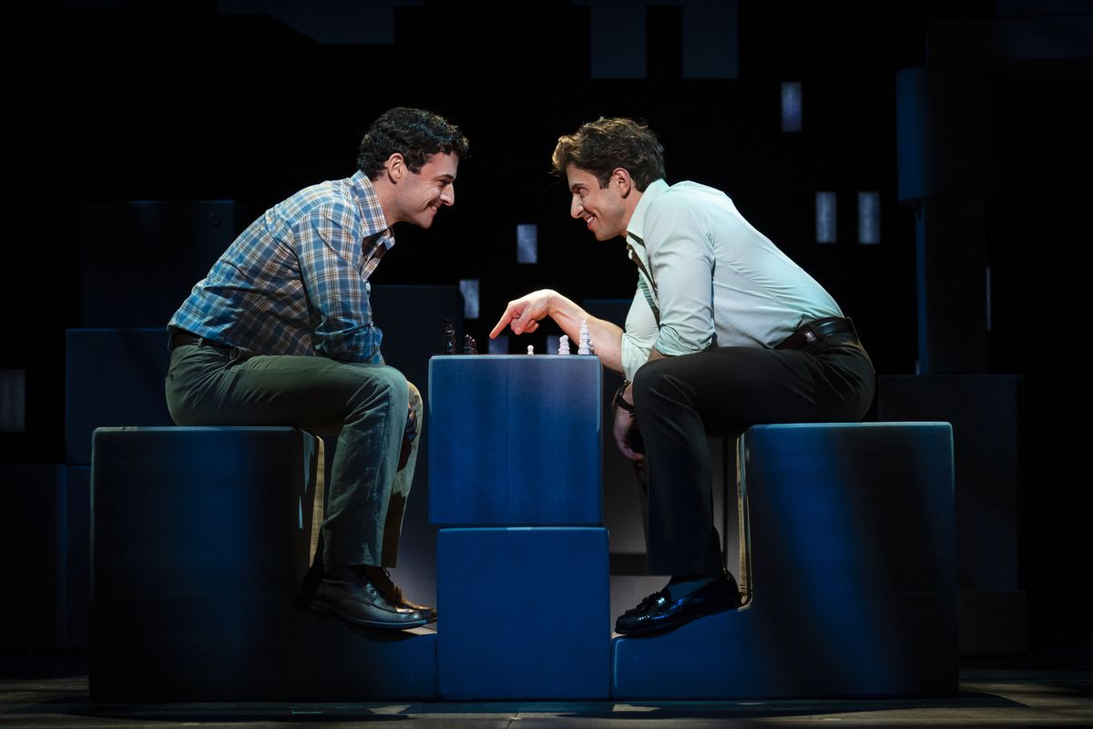 "Max von Essen (left) and Nick Adams in a scene from ""Falsettos"" at the Nederlander Theatre."