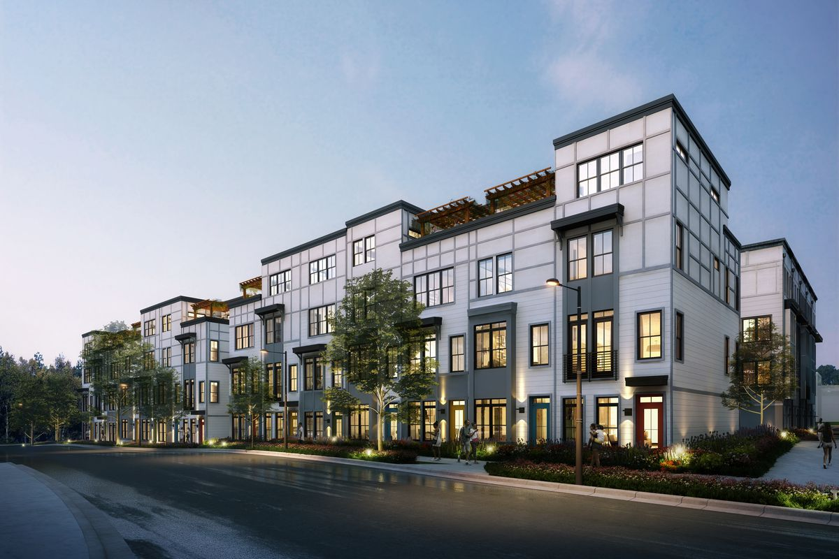 A rendering shows a four-story grey apartment stack with a grid-like facade and rooftop patio space.