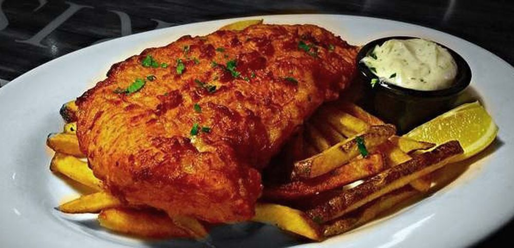 Fish and chips join pub favorites at McFadden's Restaurant & Saloon.