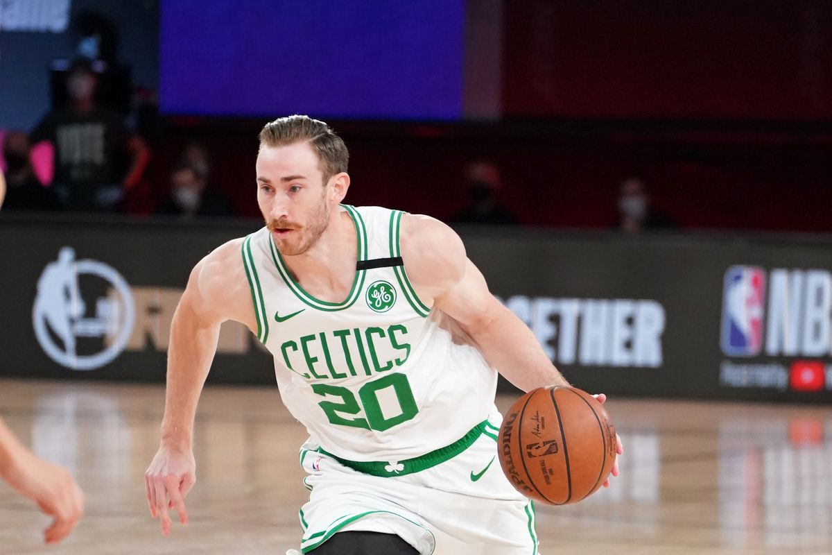 Gordon Hayward #20 of the Boston Celtics handles the ball against the Miami Heat during Game Six of the Eastern Conference Finals of the NBA Playoffs on September 27, 2020 at the AdventHealth Arena at ESPN Wide World Of Sports Complex in Orlando, Florida.