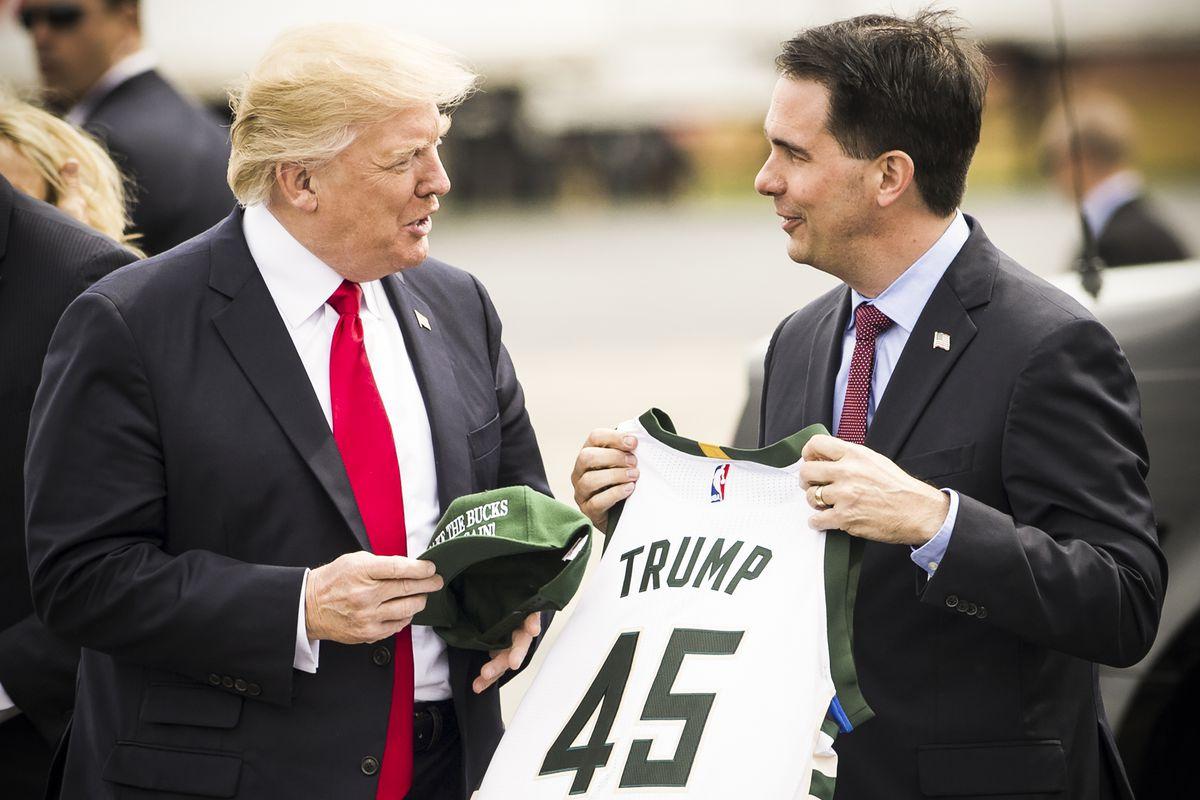President Trump and Wisconsin Governor Scott Walker in Kenosha, Wisconsin on April 18, 2017.