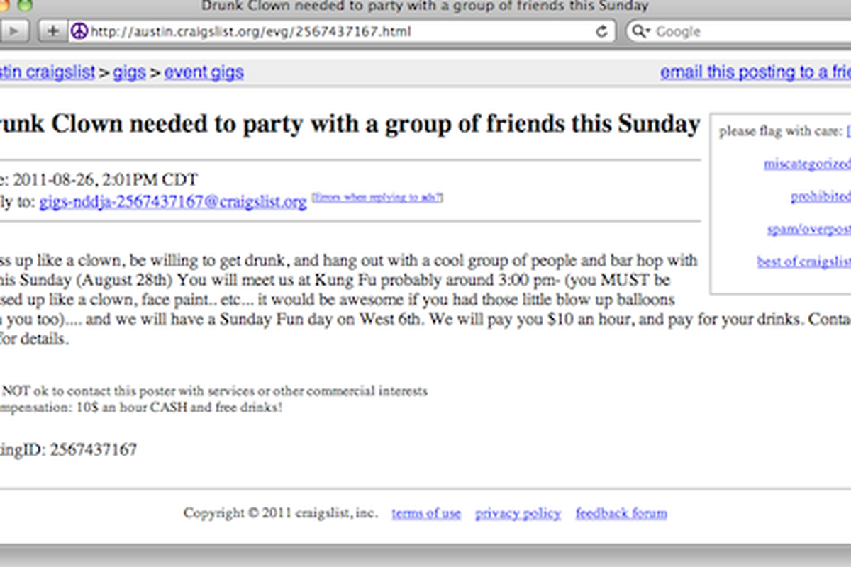craigslist ad seeks drunk clown for $10 an hour 'to party' - eater