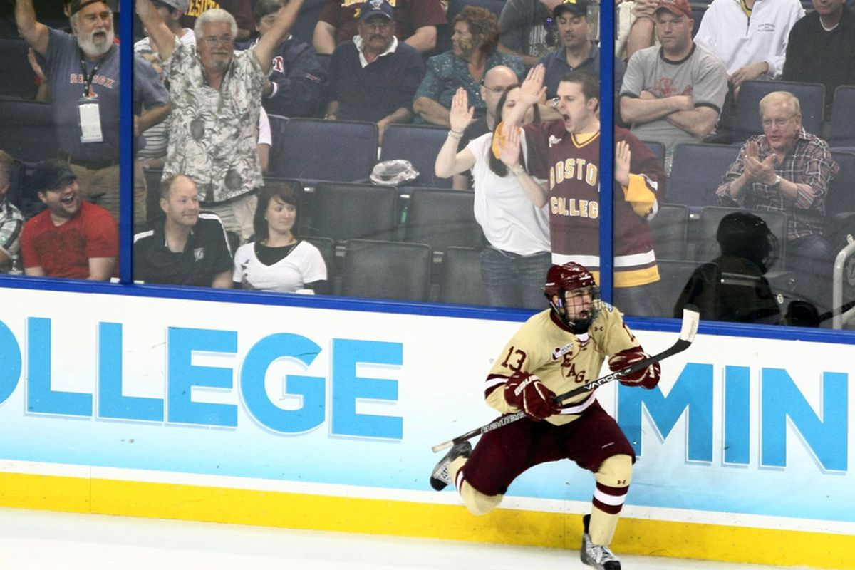 Boston College junior forward Johnny Gaudreau is one point shy of the century mark for his career following his three-point game Sunday.