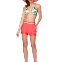 Triangle bikini top in wall paper floral print ($22.99), pleated shorts in melon ($24.99), cap-toe wedges in melon/gold ($29.99, online exclusive), striped hat in coral ($19.99), hoop earrings in gold ($14.99).
