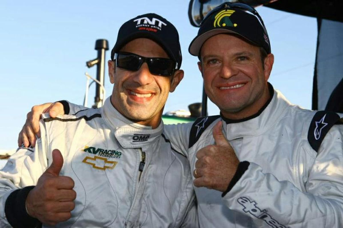 """Tony Kanaan (left) will finally get to race alongside his """"brother"""" Rubens Barrichello (right), as the F1 veteran committed to a one-year deal with KV Racing Technology for the 2012 IZOD IndyCar Series season. (Photo: KV Racing)"""