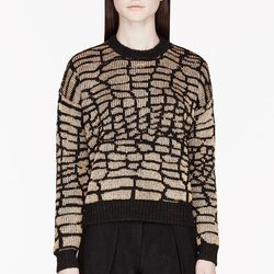"""<a href=""""http://www.ssense.com/women/product/kenzo/gold_and_black_reptile_jacquard_sweater/84212"""">Kenzo gold and black reptile jacquard sweater</a>, $151.20 (was $630)"""
