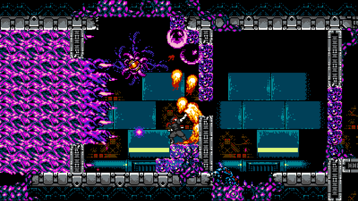 Shadow from Cyber Shadow uses a fireball power against enemies