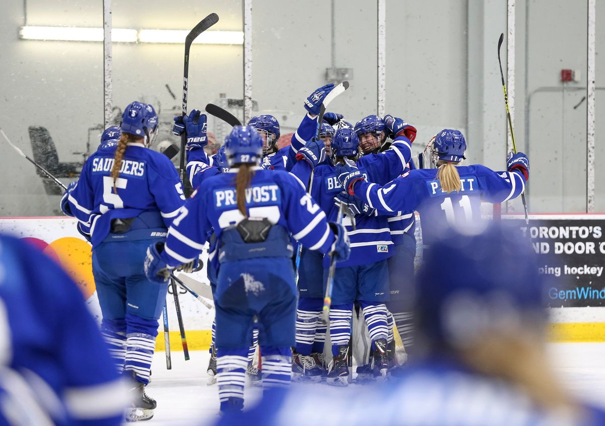 The Toronto Furies celebrate their win over the Calgary Inferno.