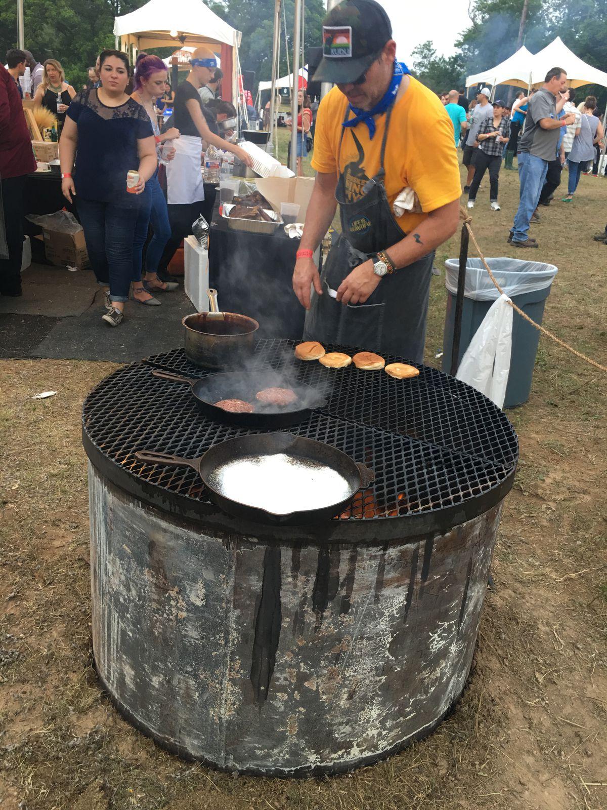 John Tesar making burgers