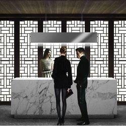 A rendering of the hostess stand at Hakkasan.