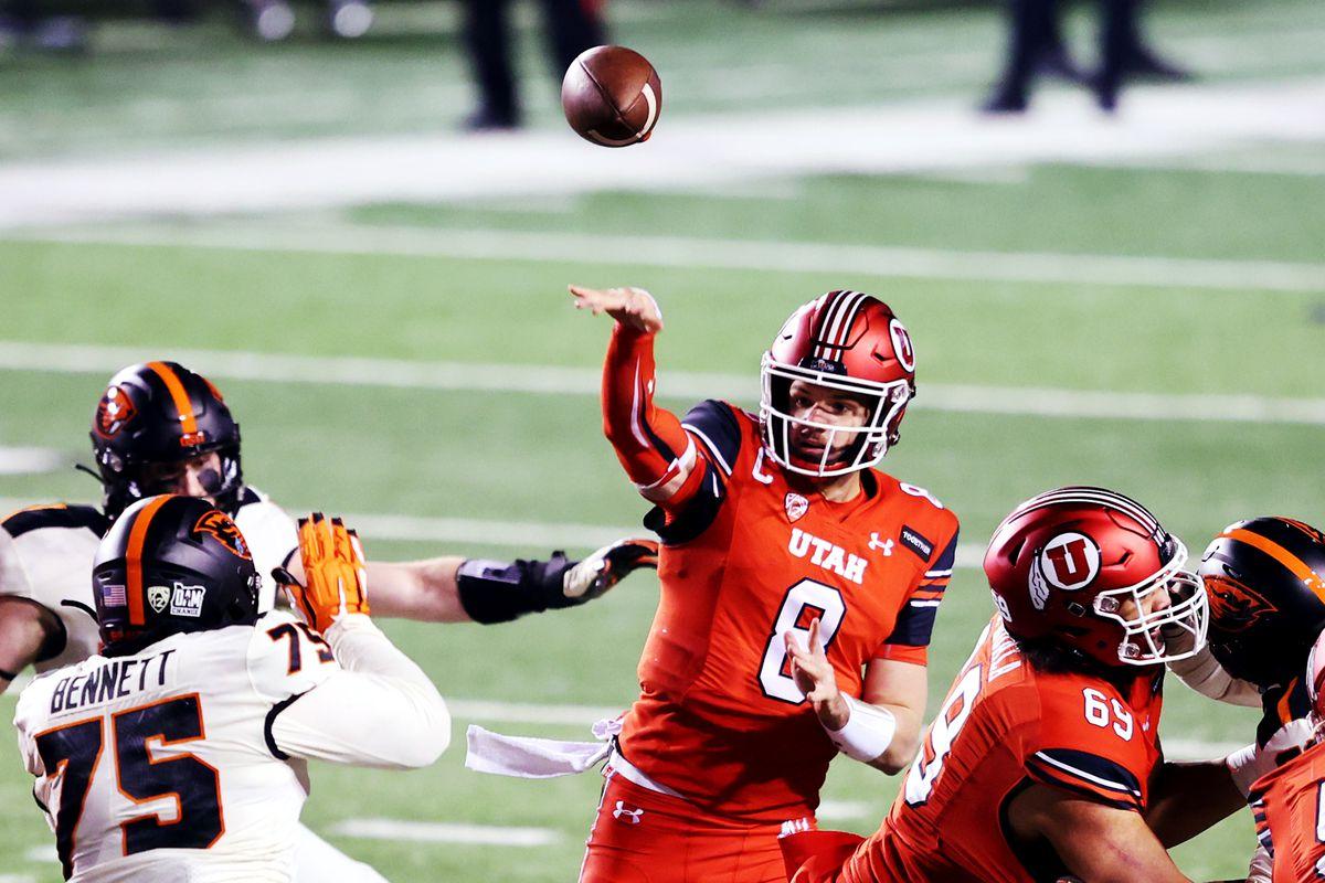Utah Utes quarterback Jake Bentley (8) delivers a pass as Utah and Oregon State play a college football game at Rice-Eccles Stadium in Salt Lake City on Saturday, Dec. 5, 2020.