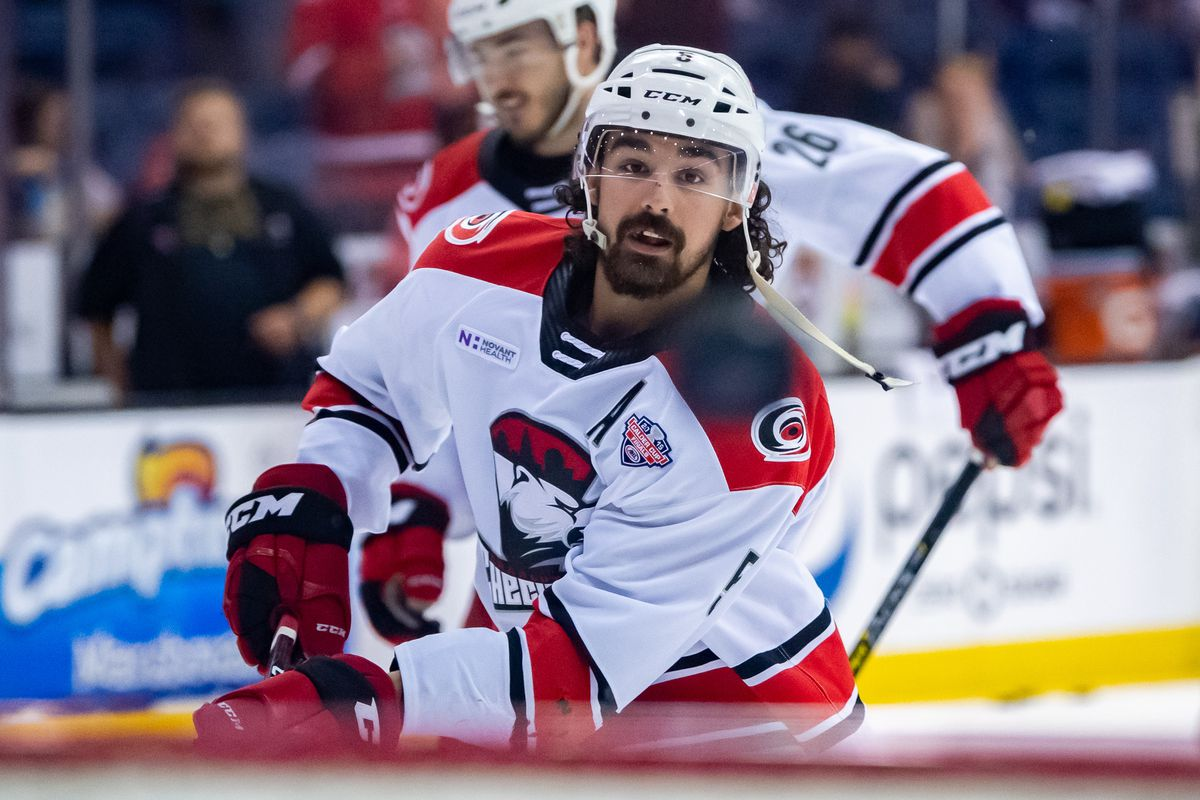 Charlotte Checkers defenseman Trevor Carrick (5) warms up prior to game five of the AHL Calder Cup Finals against the Chicago Wolves on June 8, 2019, at the Allstate Arena in Rosemont, IL.