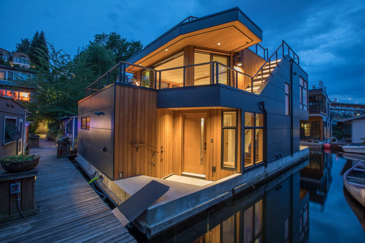 a sleek modern floating home on portage bay curbed seattle