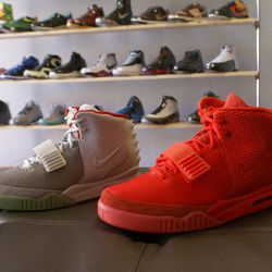 """Nike Air Yeezys; they can be yours for <a href=""""http://p4pshoes.com/collections/yeezy/products/nike-air-yeezy-2-nrg-platinum"""">$2,200</a> and <a href=""""http://p4pshoes.com/collections/yeezy/products/nike-air-yeezy-2-nrg-red"""">$4,500</a>."""