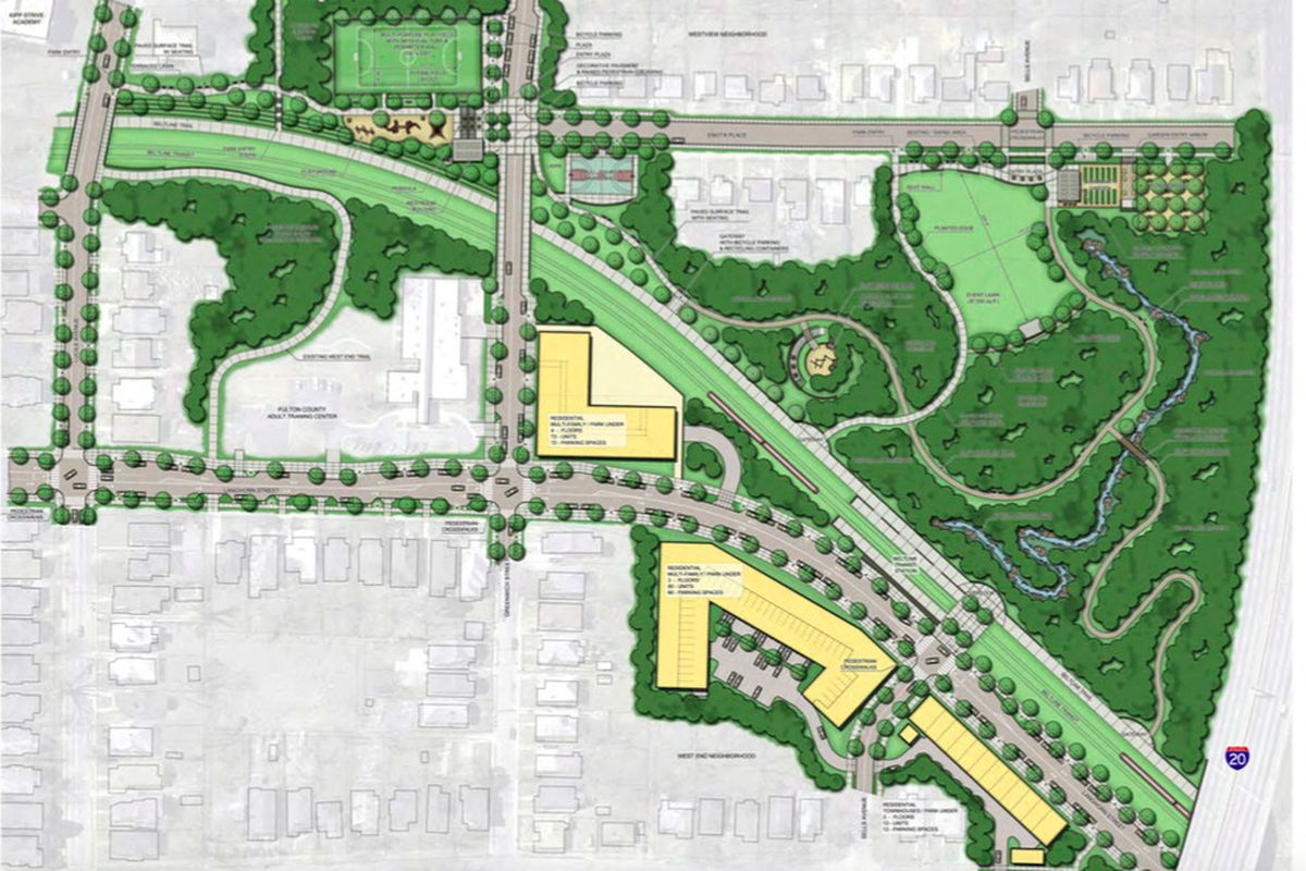 The overarching Enota Park Master Plan, adopted in 2010, includes sports facilities and a variety of greenspace. The Beltline is seen here slicing through the proposed parkland.