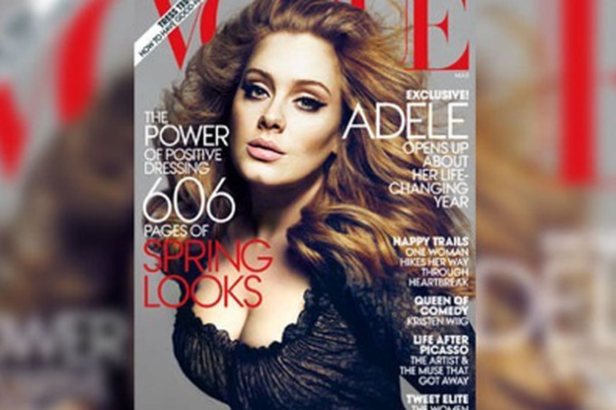 Vogue caught plenty of flack for the amount of photoshopping on Adele's March 2013 cover. Image via Yahoo