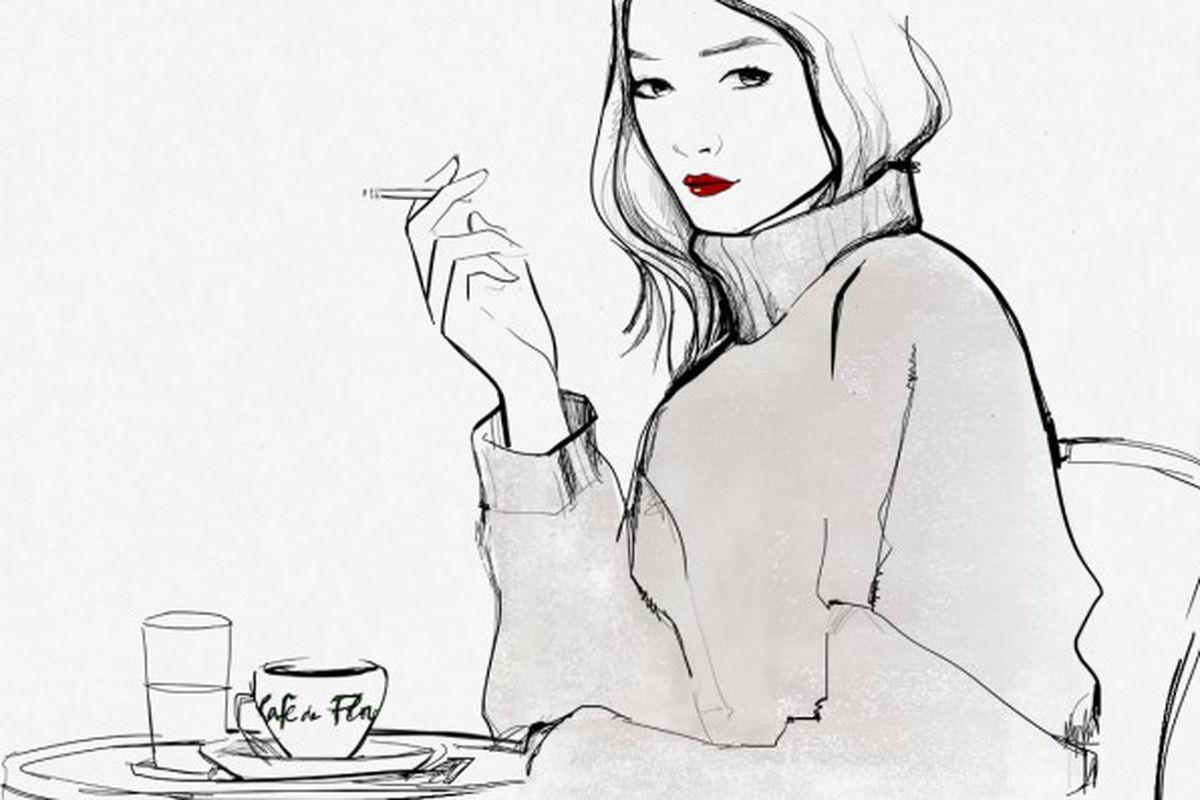 "Sketch via <a href=""http://www.garancedore.fr/en/2013/12/04/things-parisians-do/"">Garance Doré</a>."