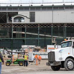 12:28 p.m. View inside the open work gate, on Clark Street -