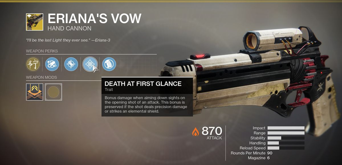 Eriana's Vow a Destiny 2 Exotic hand cannon