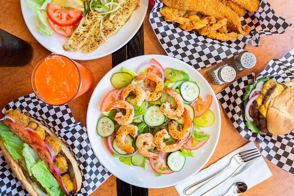 A collection of Southern-inspired seafood dishes on the menu at Jacob's Catch Bar & Grill.