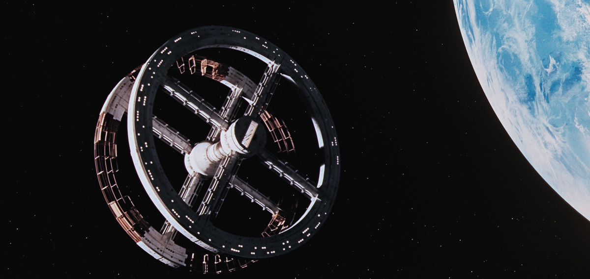 2001: a space odyssey space station floating above earth