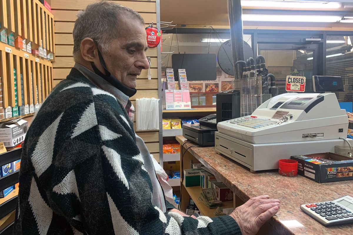 Salahuddin Aziz, who owns a newsstand at the Clark Street subway station in Brooklyn Heights, is facing another big hit to his business after the coronavirus pandemic, May 20, 2021.