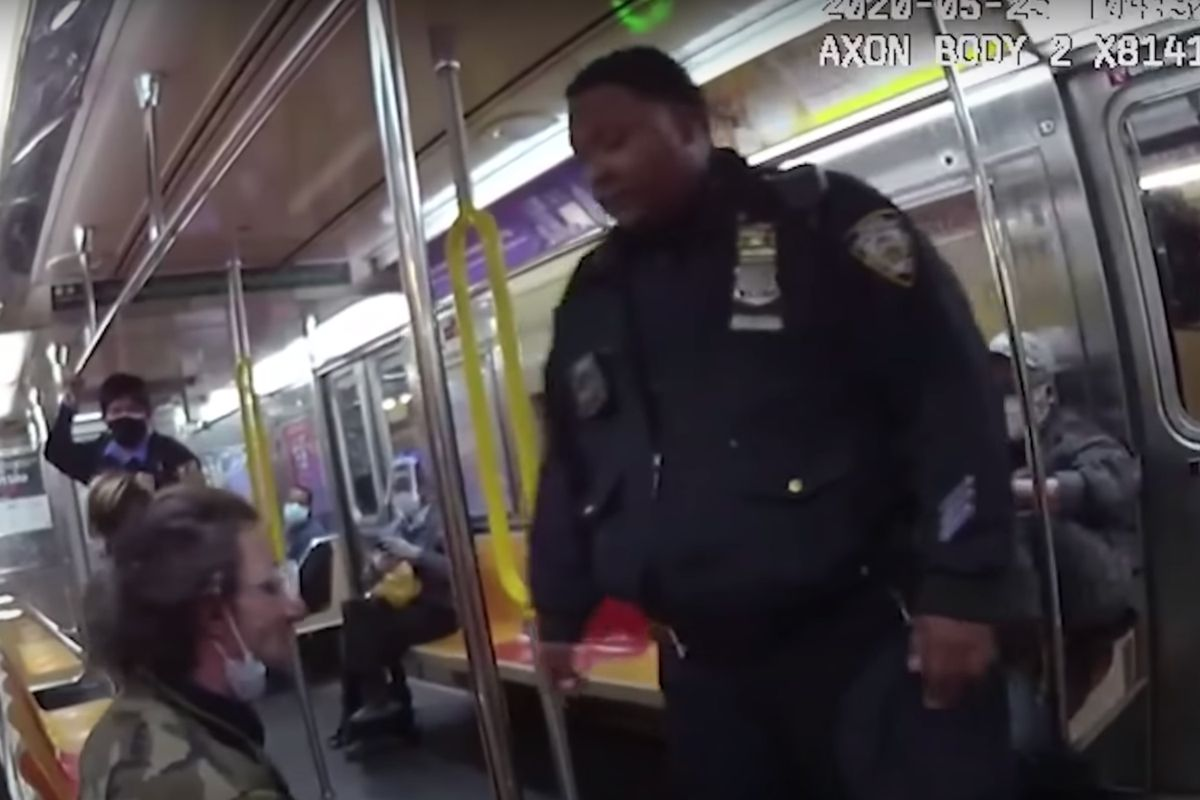 Joseph T. (left) was hit and pepper sprayed by Officer Adonis Long (right) and others as they removed him from a 6 train at 51st Street on May 25, 2020.