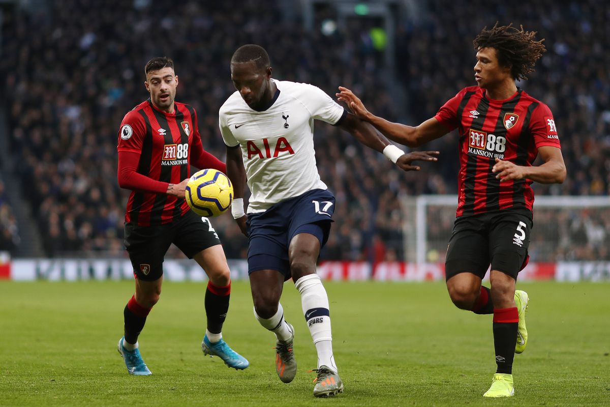 Moussa Sissoko (C) in action during the Premier League match...