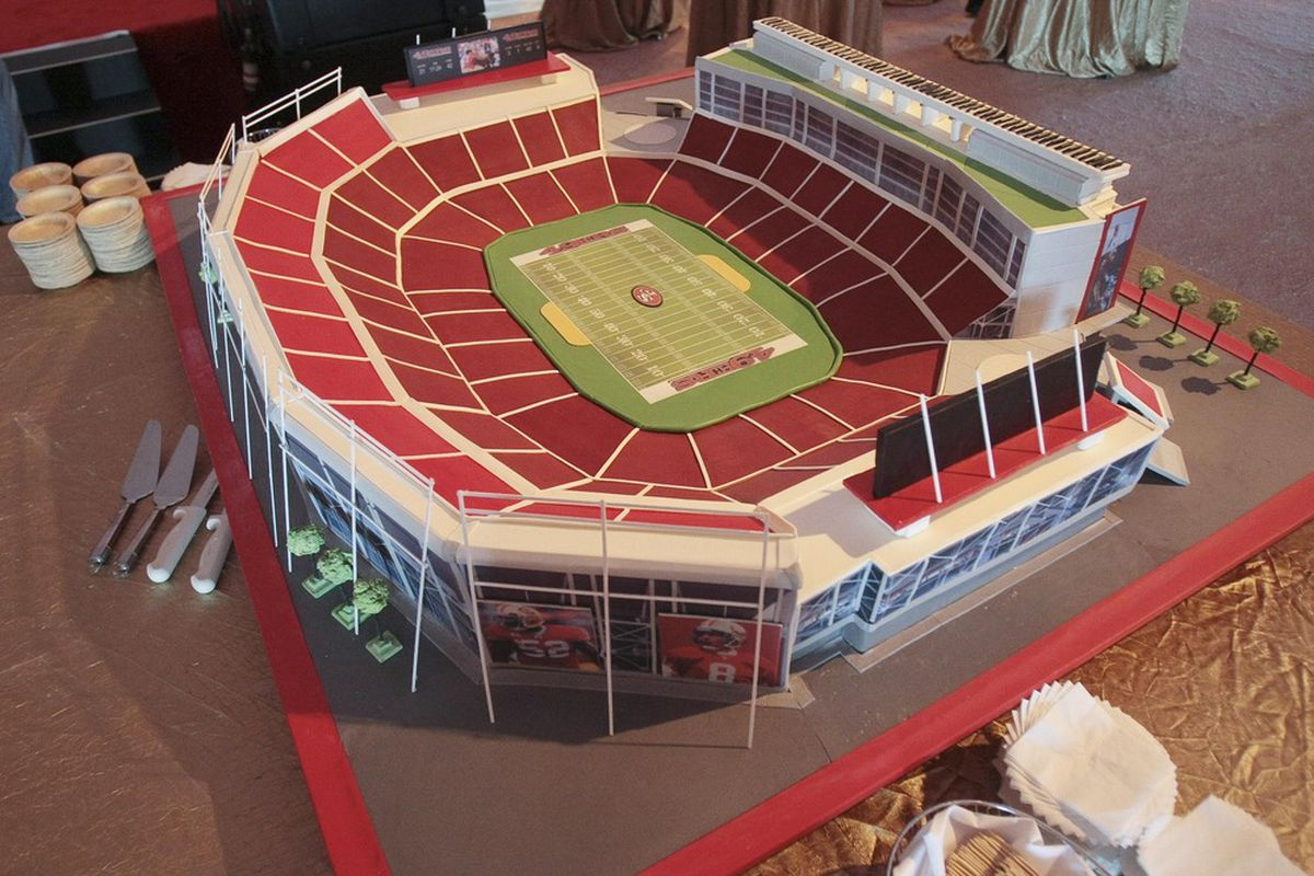 April 19, 2012; Santa Clara, CA, USA; A detail view of a cake made to model the new 49ers stadium during the groundbreaking ceremony at the site of the new San Francisco 49ers stadium. Mandatory Credit: Kelley L Cox-US PRESSWIRE