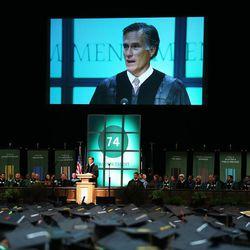 Former presidential candidate and Massachusetts Gov. Mitt Romney speaks to graduates at Utah Valley University during commencement in Orem on Thursday, April 30, 2015.