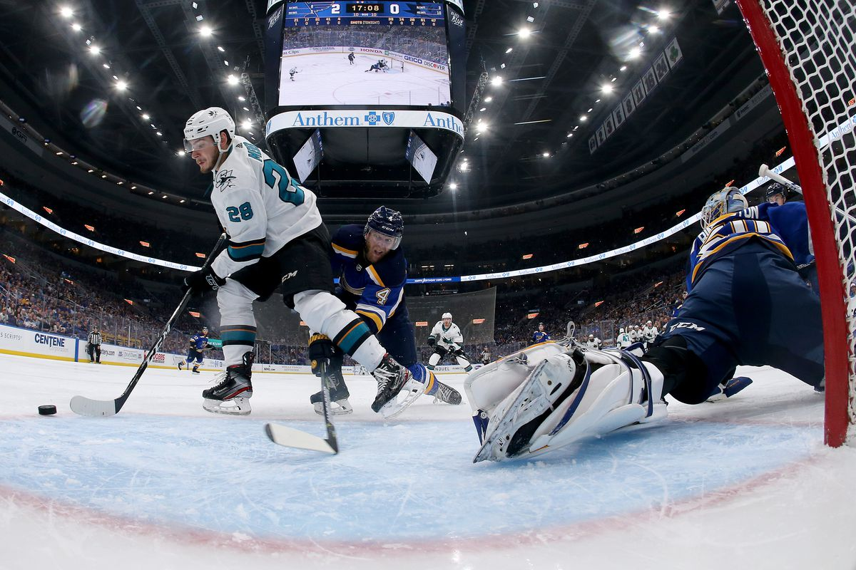 Timo Meier of the San Jose Sharks looks to shoot on Jordan Binnington of the St. Louis Blues during the second period in Game 4 of the Western Conference Final during the 2019 NHL Stanley Cup Playoffs on May 17, 2019 in St Louis, Missouri.