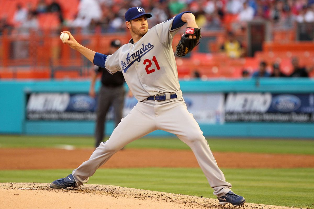 MIAMI GARDENS, FL - APRIL 25:  Jon Garland #21 of the Los Angeles Dodgers pitches during a game against the Florida Marlins at Sun Life Stadium on April 25, 2011 in Miami Gardens, Florida.  (Photo by Mike Ehrmann/Getty Images)