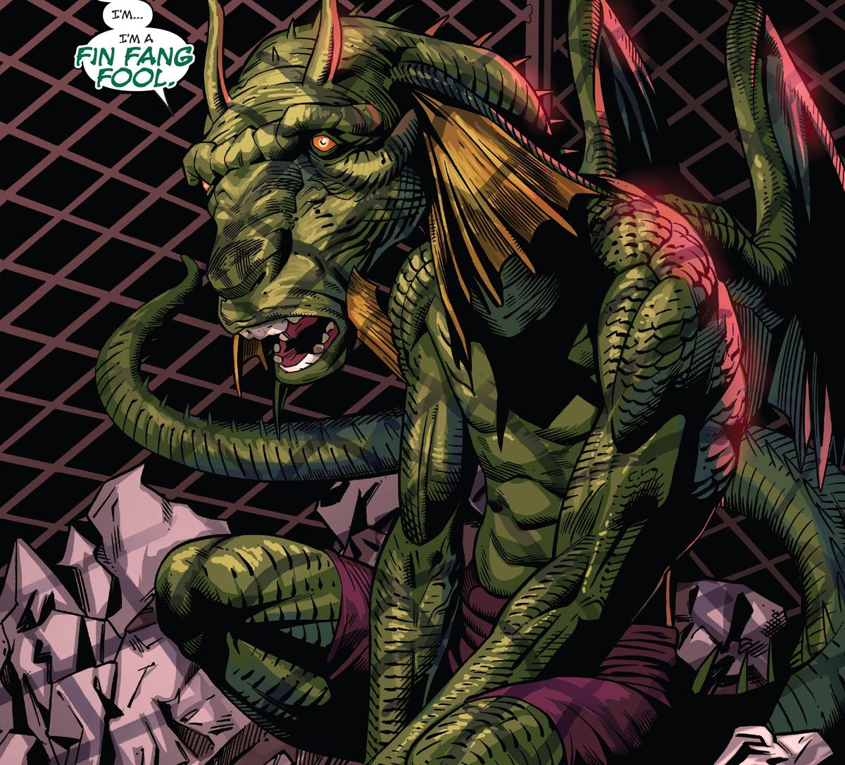 """Fin Fing Foom, somehow reduced to about the size of a housecat, sits in a wastepaper basket and bemoans, """"I'm a Fin Fang Fool,"""" in Black Panther and the Agents of Wakanda, Marvel Comics (2020)."""