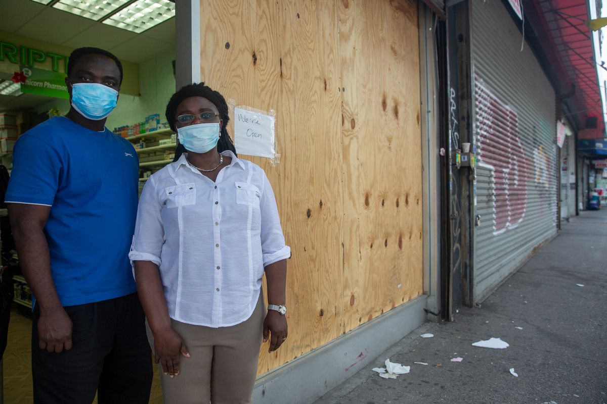 Married couple Forster and Beatrice Akuoko said their Bronx pharmacy on Grand Concourse was robbed during recent protests, June 18, 2020.