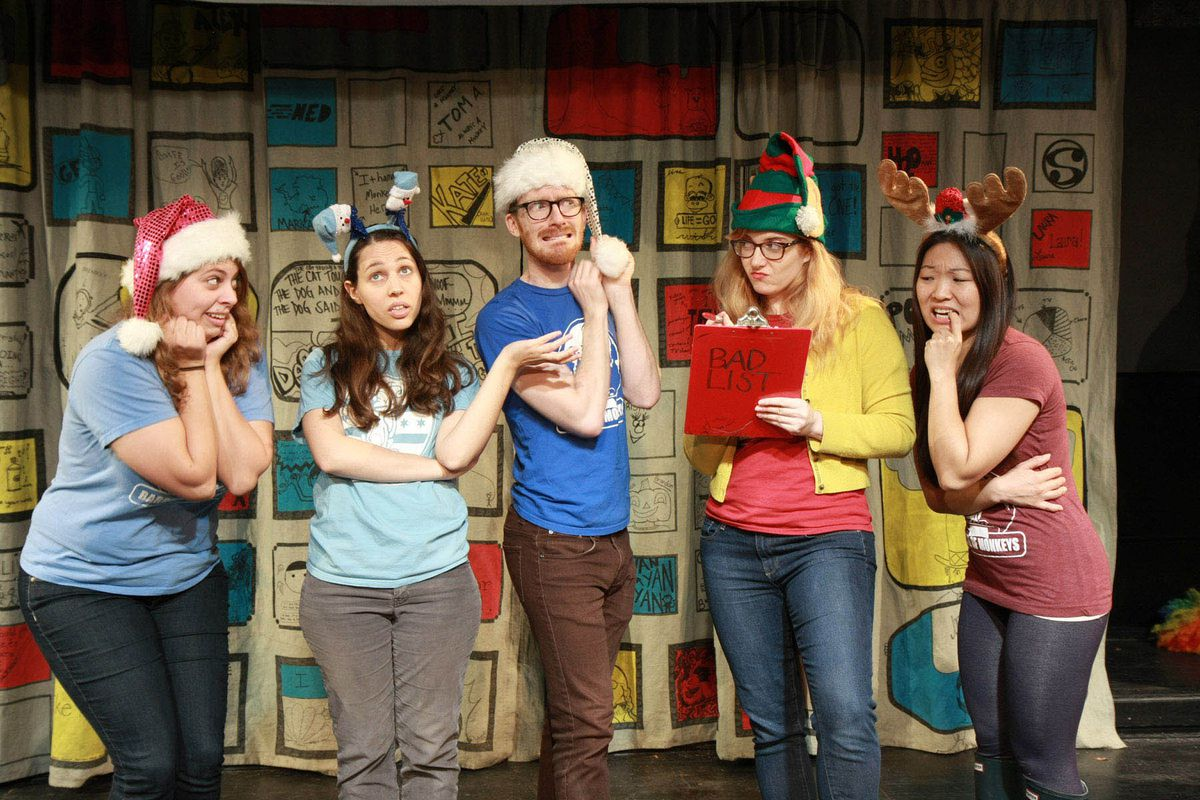 """Victoria Golden (from left), Diana Lawrence, Rawson Vint, Rachel Wilson and Deanna Myers perform in Barrel of Monkeys' """"That's Weird Grandma: The Holiday Special. """"   Michelle Alba Photo"""