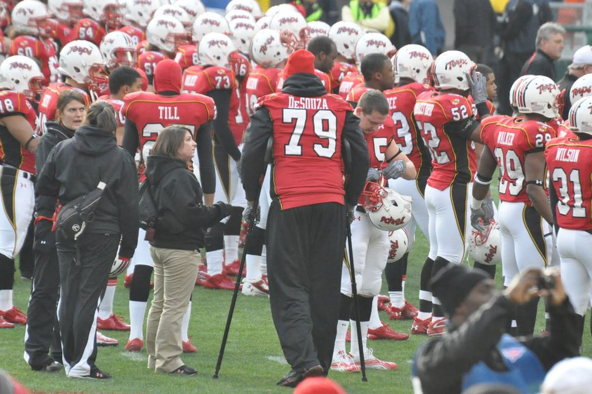 """Pete DeSouza, via <a href=""""http://marylandfb.blogspot.com/2010/12/maryland-military-bowl-pregame.html"""">Section 19</a>. All the best goes out to him, and hopefully the recovery is going well."""