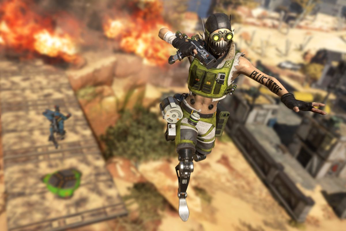 Apex Legends - Octane and his squad jumping from a launch pad