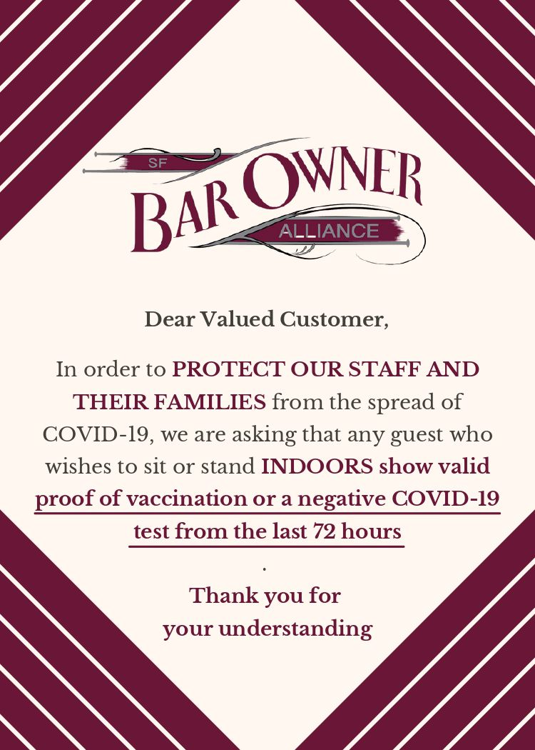 Proof of vaccination sign from SF Bar Owner Alliance