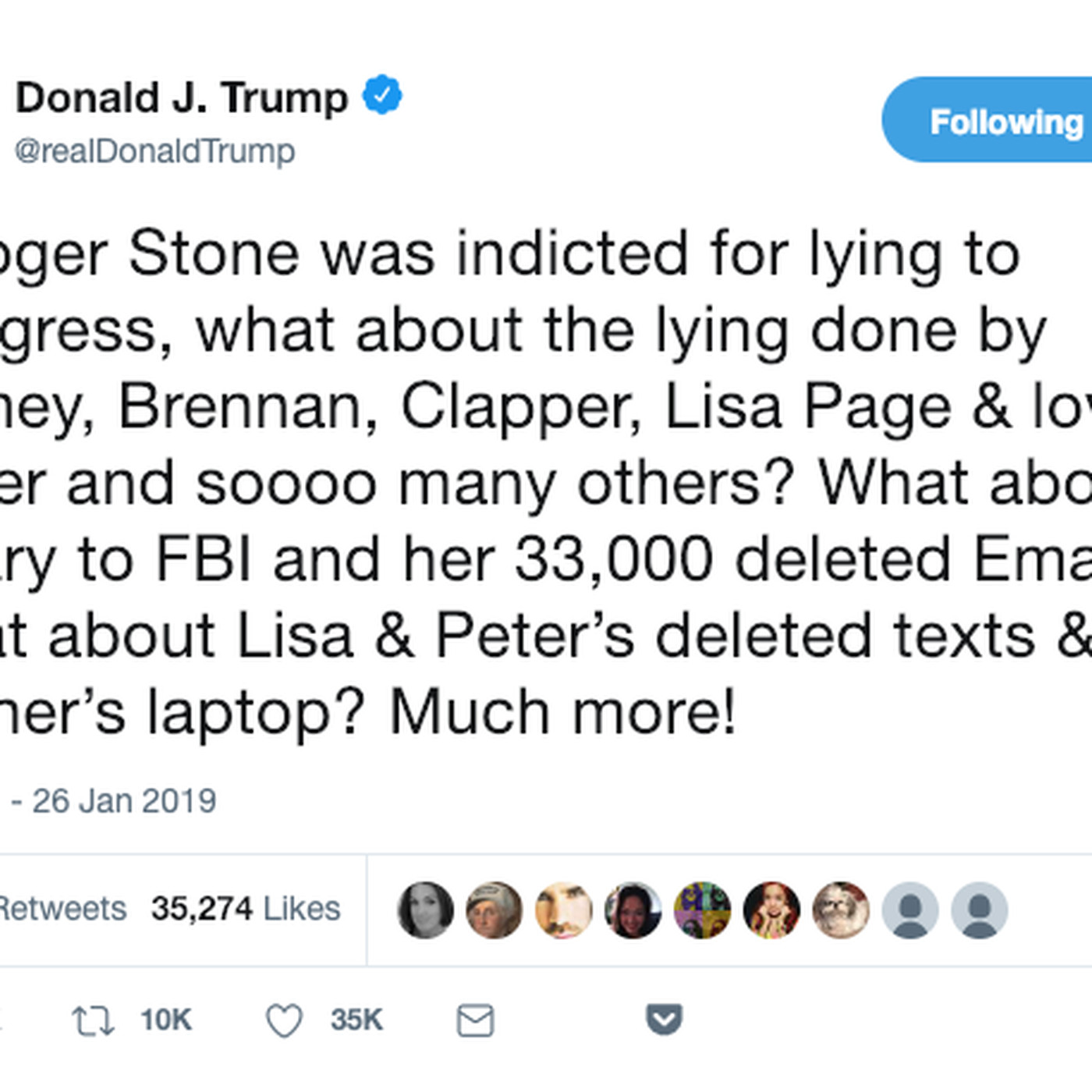 Trump responds to Roger Stone's indictment with old