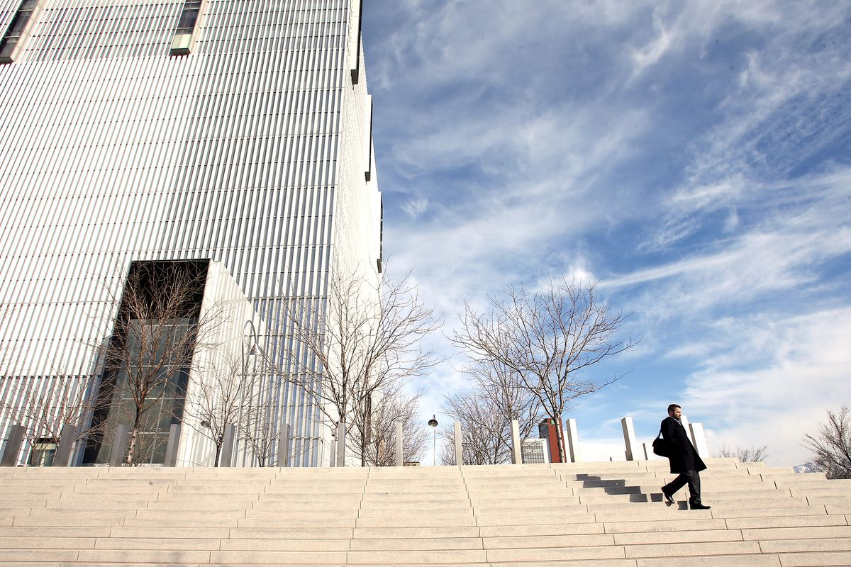 A man leaves the federal courthouse in Salt Lake City is pictured on Tuesday, Feb. 18, 2020.