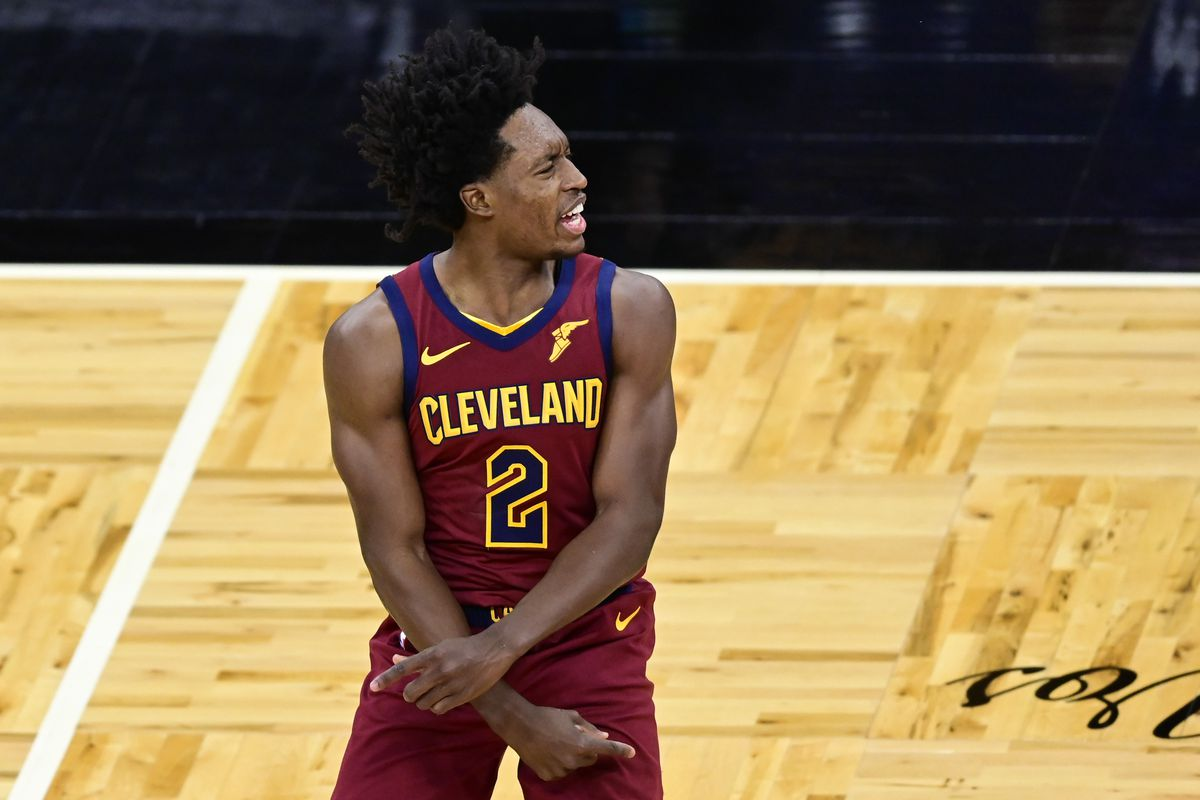 Collin Sexton of the Cleveland Cavaliers reacts during the first quarter against the Orlando Magic at Amway Center on January 06, 2021 in Orlando, Florida.