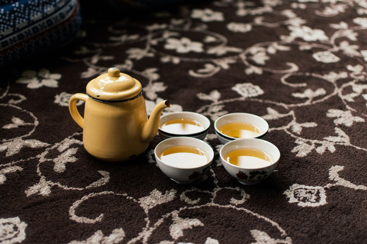 Qawah (green tea) is served at the end of the meal at Namak Mandi, a Pakistani restaurant in Tooting, south London