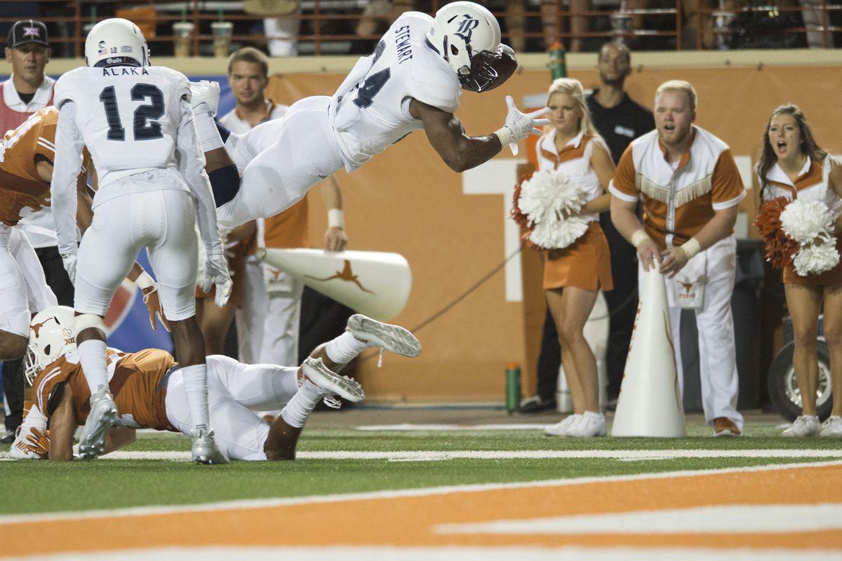 Rice freshman running back Samuel Stewart dove into the CUSA scene following this touchdown against Texas