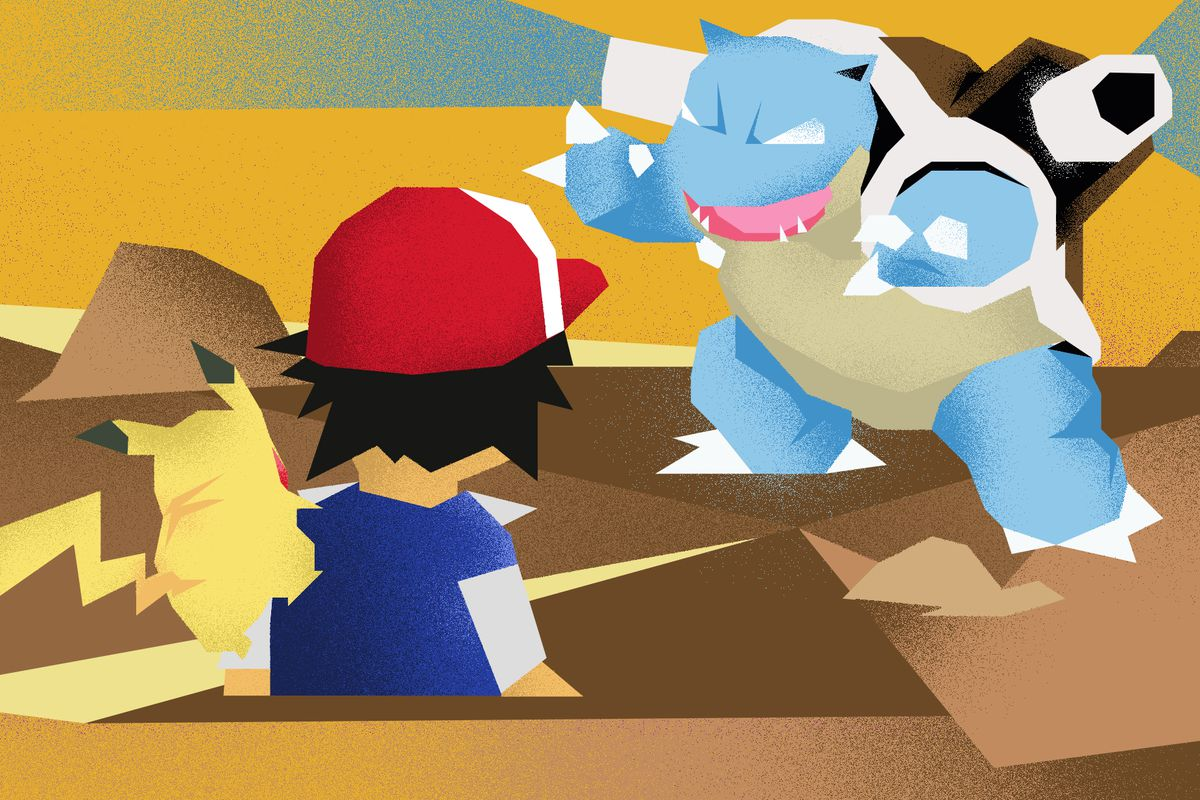 Illustrated image of Ash Ketchum with a Pikachu on his shoulder facing a Blastoise.