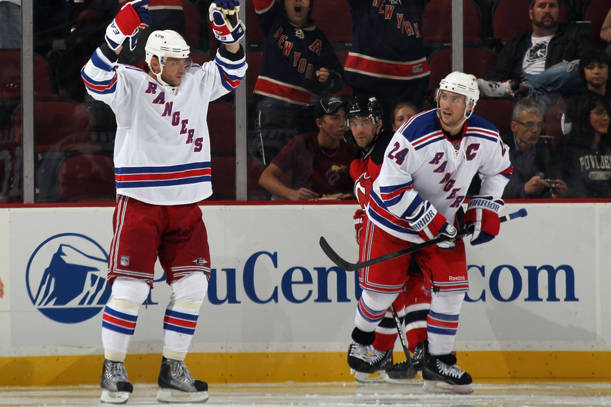 NEWARK, NJ - SEPTEMBER 23: Marian Gaborik #10  of the New York Rangers celebrates his goal at 1:32 of the second period as Ryan Callahan #24 looks on in their preseason game against the New Jersey Devils.  (Photo by Bruce Bennett/Getty Images)